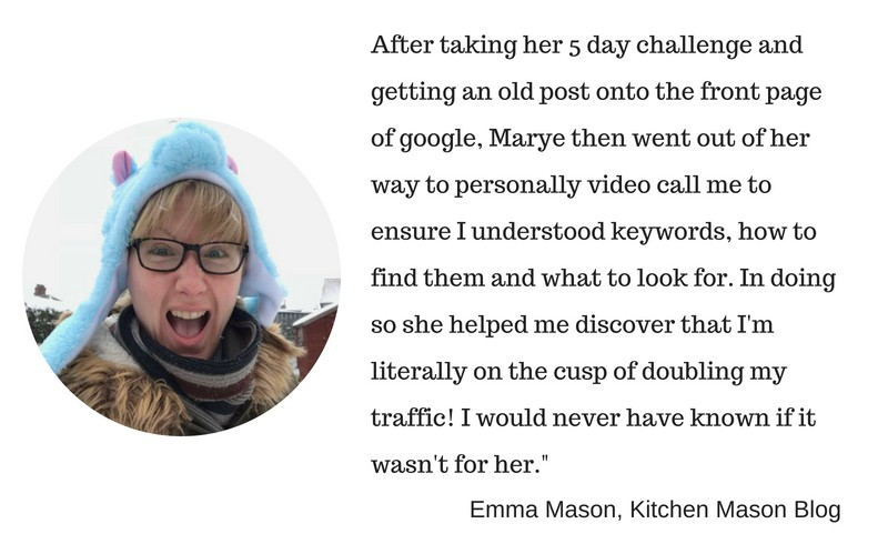 Emma Mason's testimonial about keywords