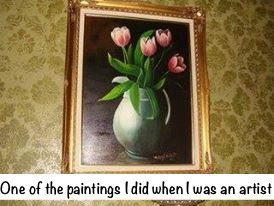 Painting of pink tulips by marye audet white