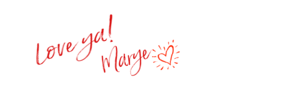 Signature of marye audet-white in red cursive with a heart next to it. It says: Love ya! Marye