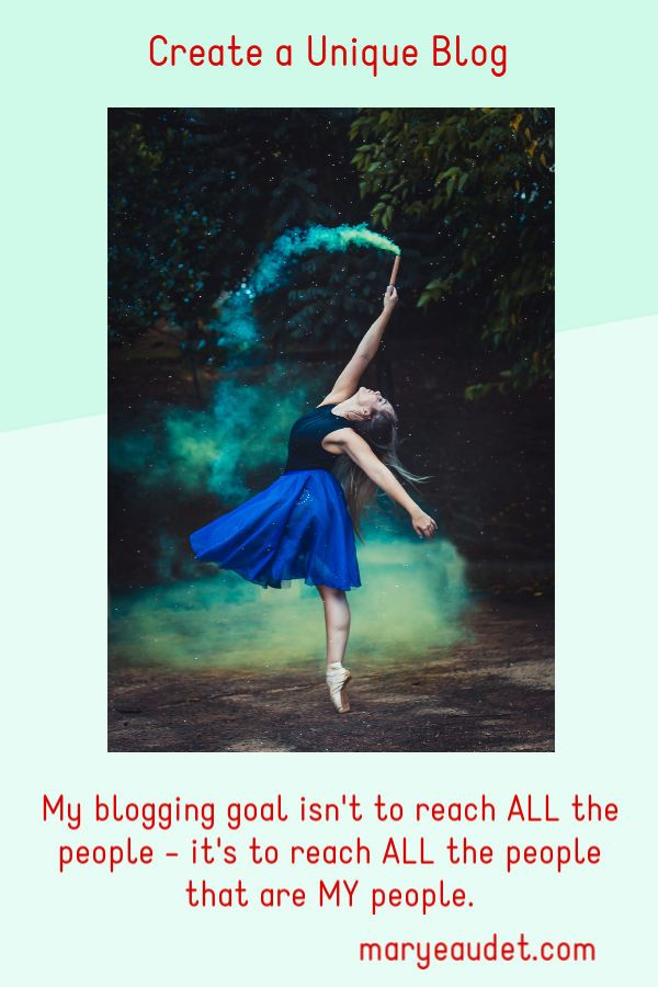 Title Image for create a unique blog - woman in ballet with green smoke coming from a wand.