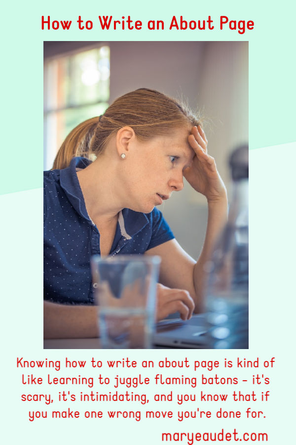 title image- woman looking at a computer in frustration, her hand on her head- learning how to write an about page can be frustrating